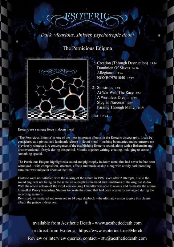 The Pernicious Enigma 2xCD Digipak now available for pre-order.  Release date August 24th 2018